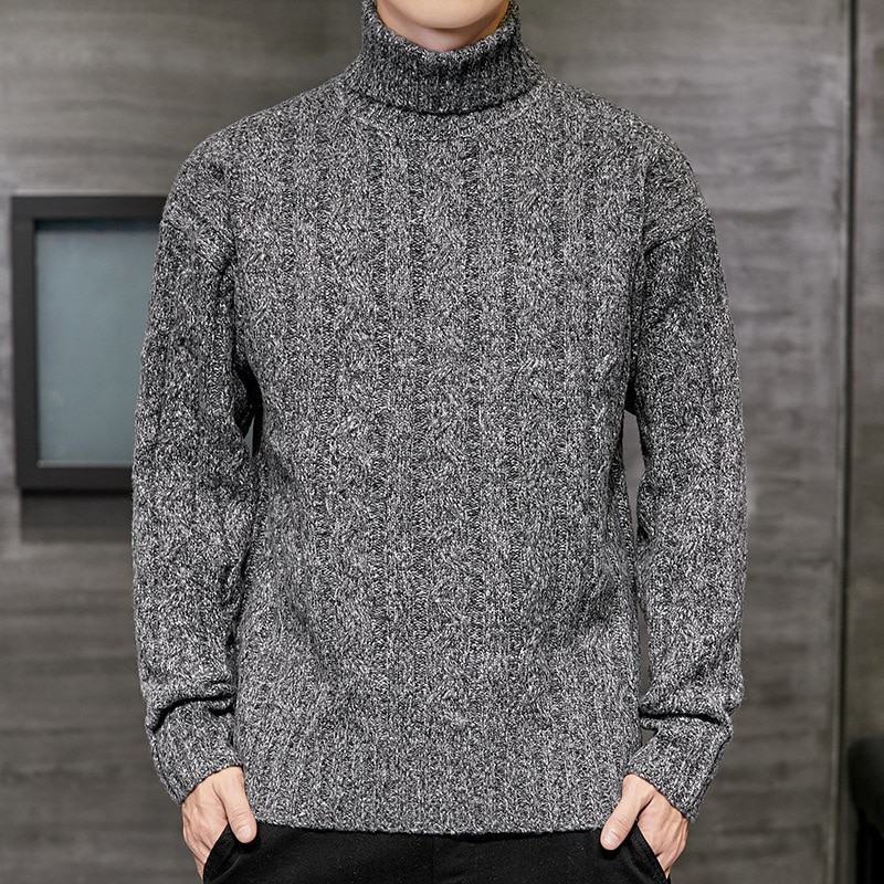2020 korean long knitted turtleneck men loose ooversized turtleneck men sweater streeetwear black turtleneck sweater men winter Mens Sweater Fashion Turtleneck Sweater Autumn Winter Solid Knitted Pullovers Men Causal Winter Clothes Knitted Sweater Men