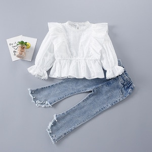 2021 summer Spring Girl Clothes hollow mesh Floral whit blouse Shirt + Pearl pant Jeans Kid Children 2 3 4 5 6 7 8 year teenager