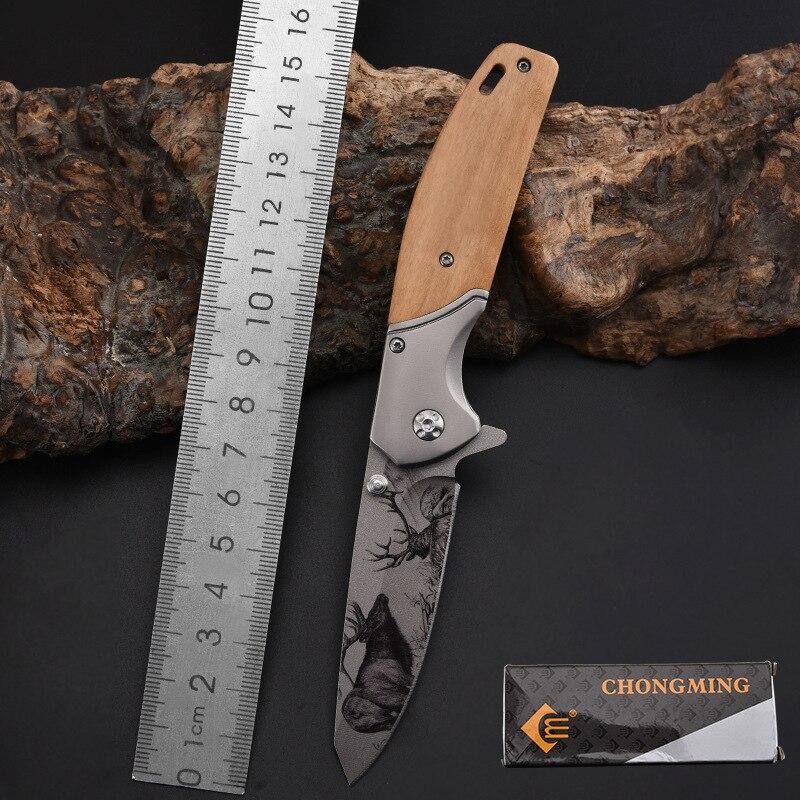 Marca cuchillo plegable táctico de bolsillo cuchillo de rescate de supervivencia cuchillos plegables acero VG10 + herramienta táctica EDC de madera Handel