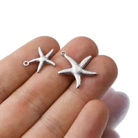 20pcs lot stainless steel small starfish star sea shell charms for jewelry making designer bracelets necklace bulk wholesale