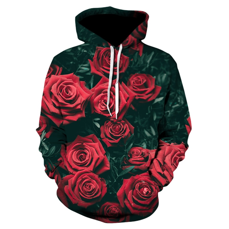 Мужские/женские толстовки сезона осень-зима 2021, мужские свитшоты, свитшоты с принтом в виде роз, Детская кофта, Свободный пуловер, толстовка,...