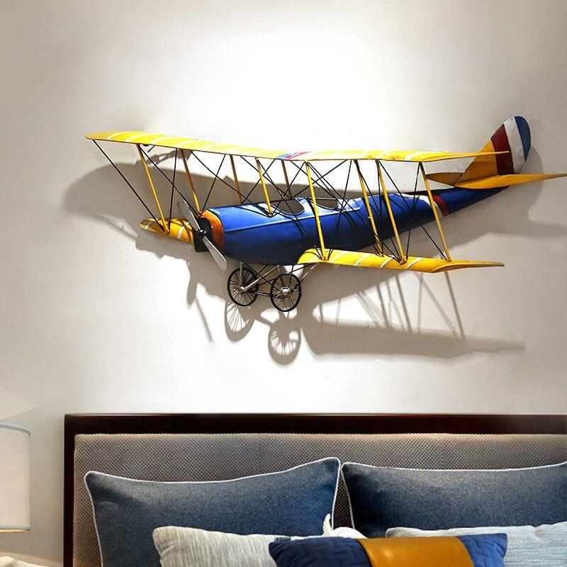 Decoración de pared de hierro 3D Retro cafetería bar forma de avión colgante de pared decoración de habitación de los niños decoración del hogar vintage