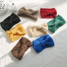 Autumn and winter hand-knitted wool cross hairband sweet simple broad-brimmed headband