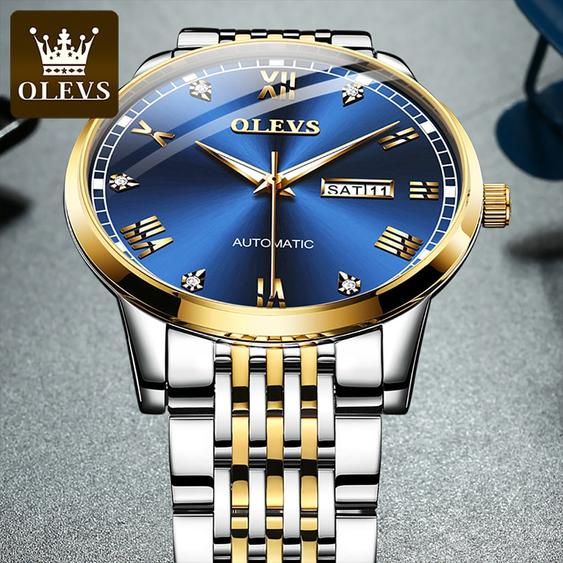 OLEVS New Fashion Men's Automatic Mechanical Dial Watches Diamond HD Luminous 30M Waterproof Blue Stainless Steel Strap 6602 enlarge