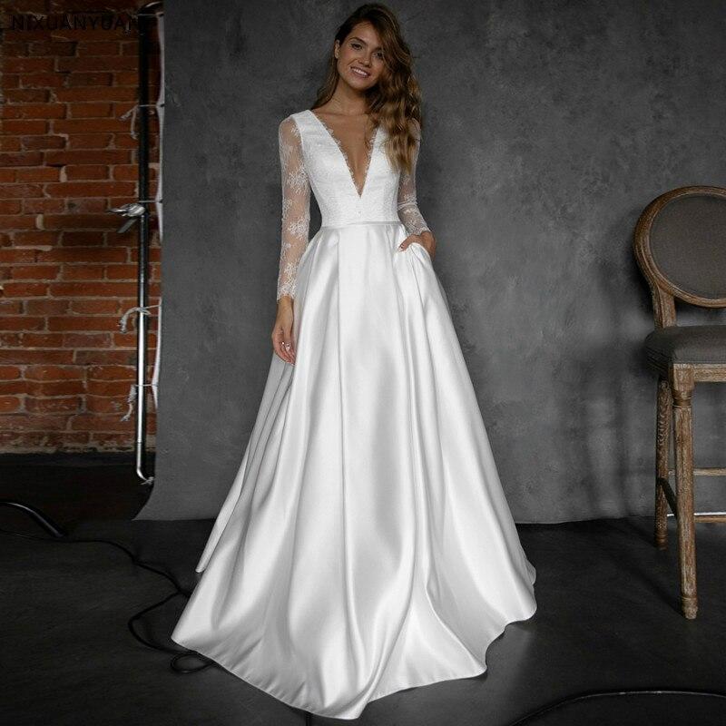 White Ivory Wedding Dresses 2020 with Pocket Vestido Noiva Elegant Satin Long Sleeves Bridal Dress Sweep Train Wedding Gowns
