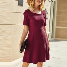 Elegant Irregular Neck High Waist Mini Dress for Women Solid Color Irregular Short Sleeve Dresses Summer Beach Dress #20