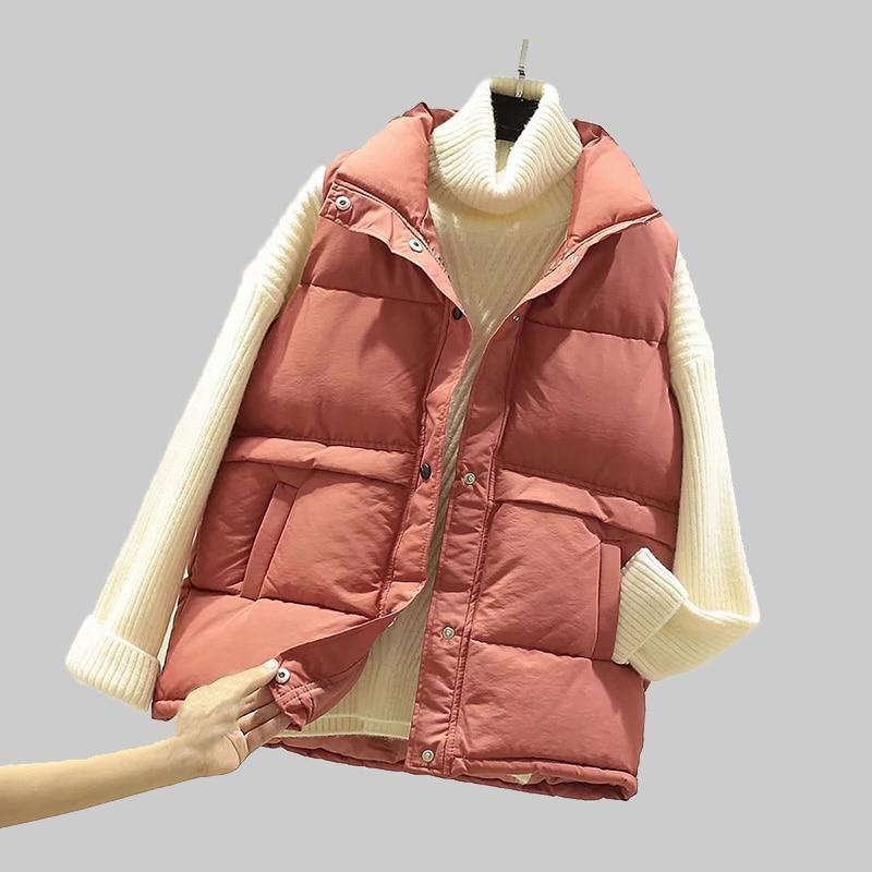 2020 Women Sleeveless Vest Winter Warm Plus Size 2XL Down Cotton Padded Jacket Female Veats Mandarin