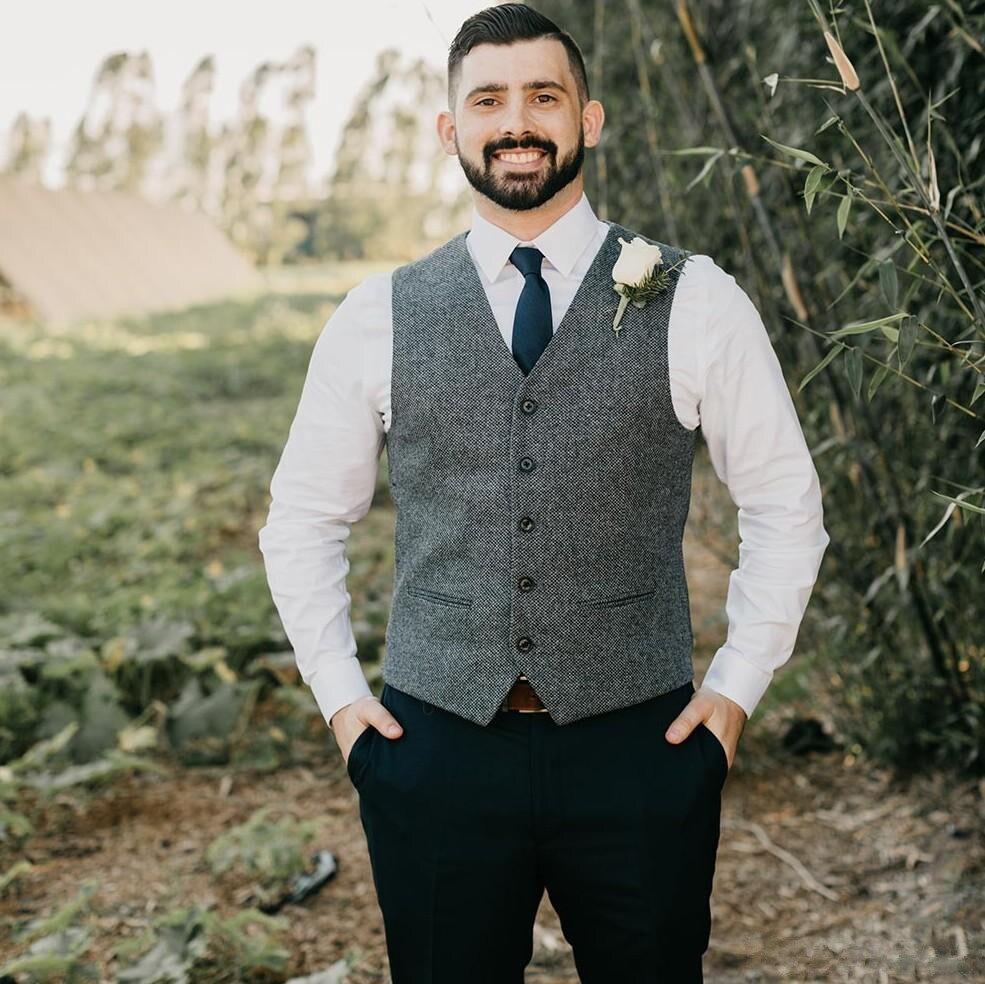 سترة رجالية من الصوف متعرجة ، بدلة ضيقة لرفقاء العريس ، لحفلات التخرج أو الزفاف ، رمادي