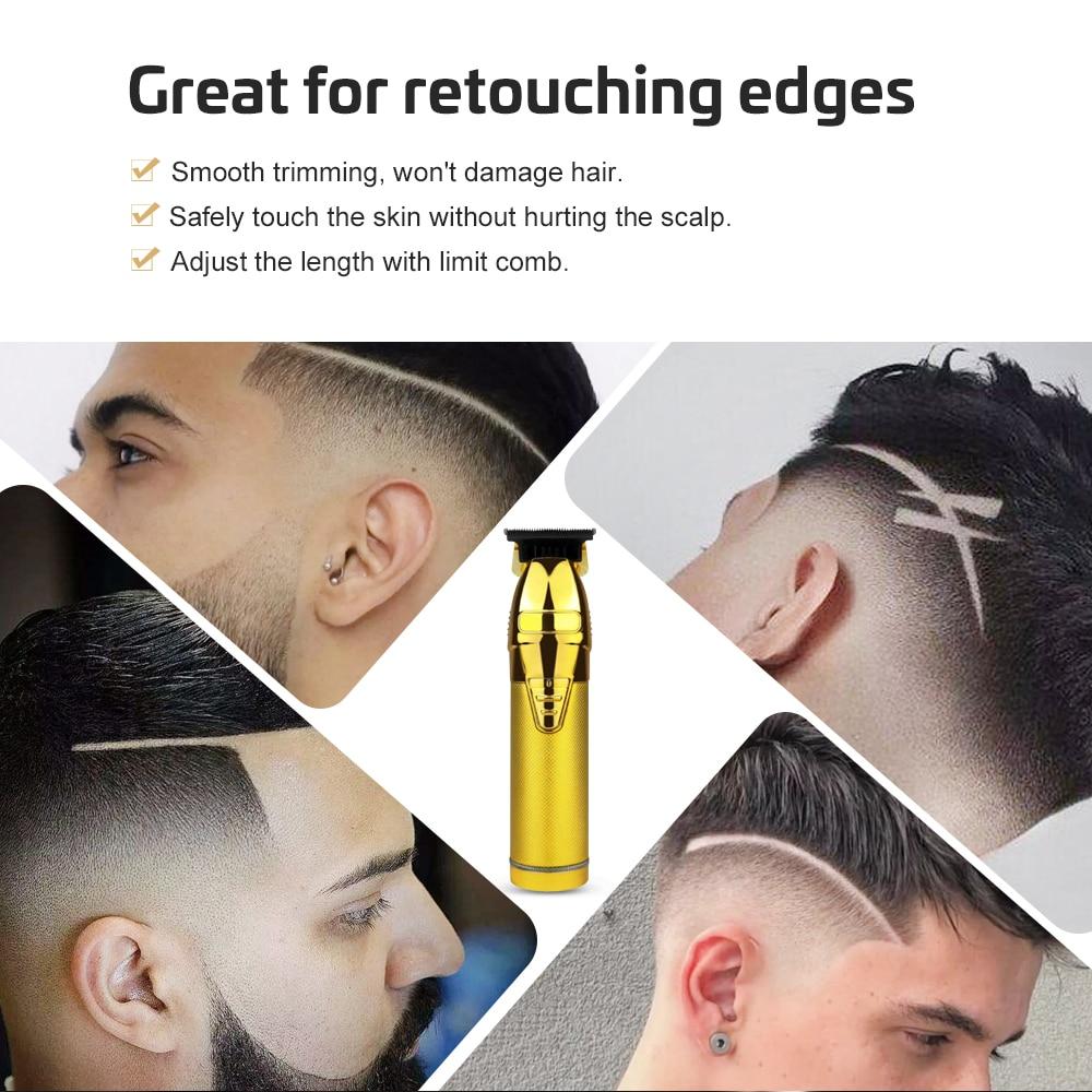 hair clipper trimmer haircut electric rechargeable barber shaver for men gold metal barbershop shaving T-blade trimming outline enlarge