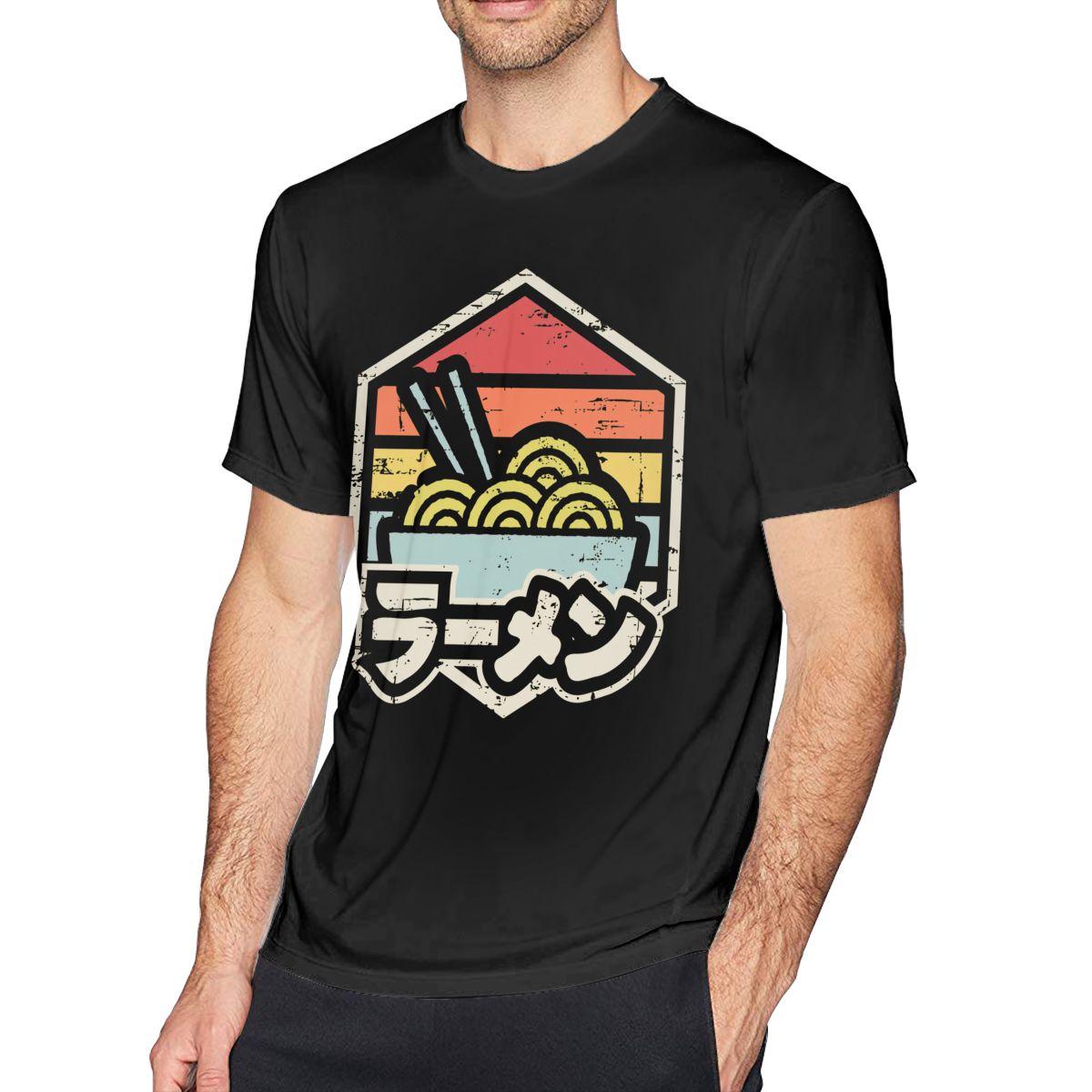 Camiseta de Noodle Retro Badge Ramen, camiseta de playa para hombre, camiseta divertida 100 de algodón con estampado XXX