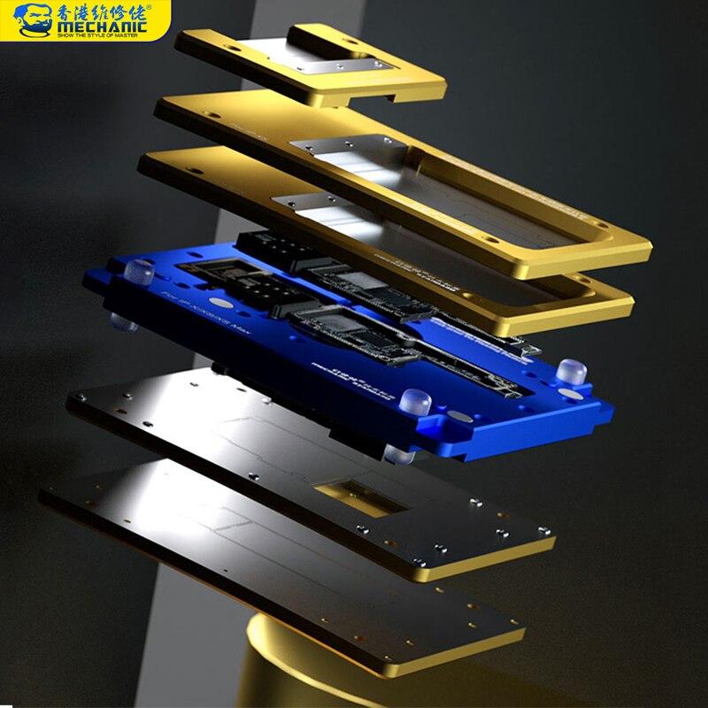 Plantilla de Reballing mecánico 6 en 1 BGA para iPhone X/XS MAX/11/11 Pro/11Pro MAX placa base plataforma de siembra de Marco medio de estaño