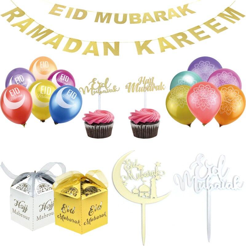 Oro/plata Ramadan Kareem decoración Eid Bandera de Mubarak pastel Toppers globos fiesta de Ramadan Favor Eid al-fitr decoración de Ramadan