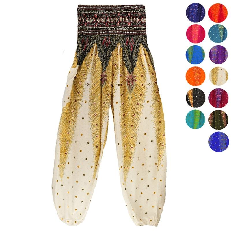 Pantalones rectos sueltos de plumas negras pantalones de descanso pantalones bombachos estilo tailandés indio cintura alta elástica bolsillo pantalones de yoga