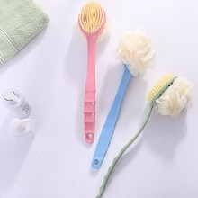 Two In One Long Handled Plastic Bath Shower Back SPA Brush Scrubber Skin Cleaning Brushes Body For B