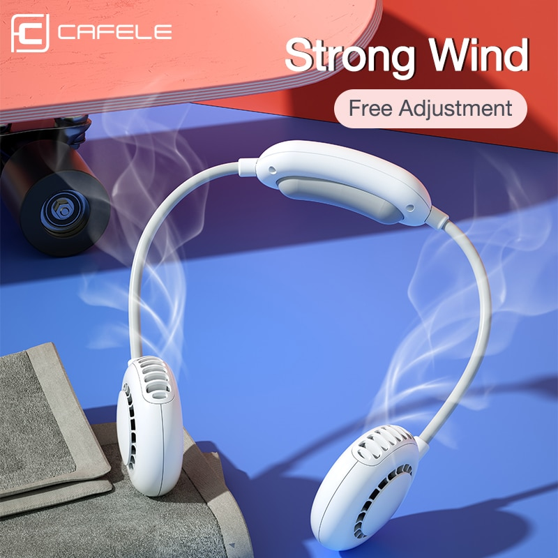 Вентилятор Cafele на шею с функцией громкой связи зарядка через USB 3 скорости 360 ° 2000