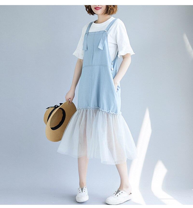Summer Pregnant Women Loose Pockets A Line Denim Jeans Suspender Dress Maternity Tank Dress Sleeveless Jeans Mesh Dress Clothes enlarge