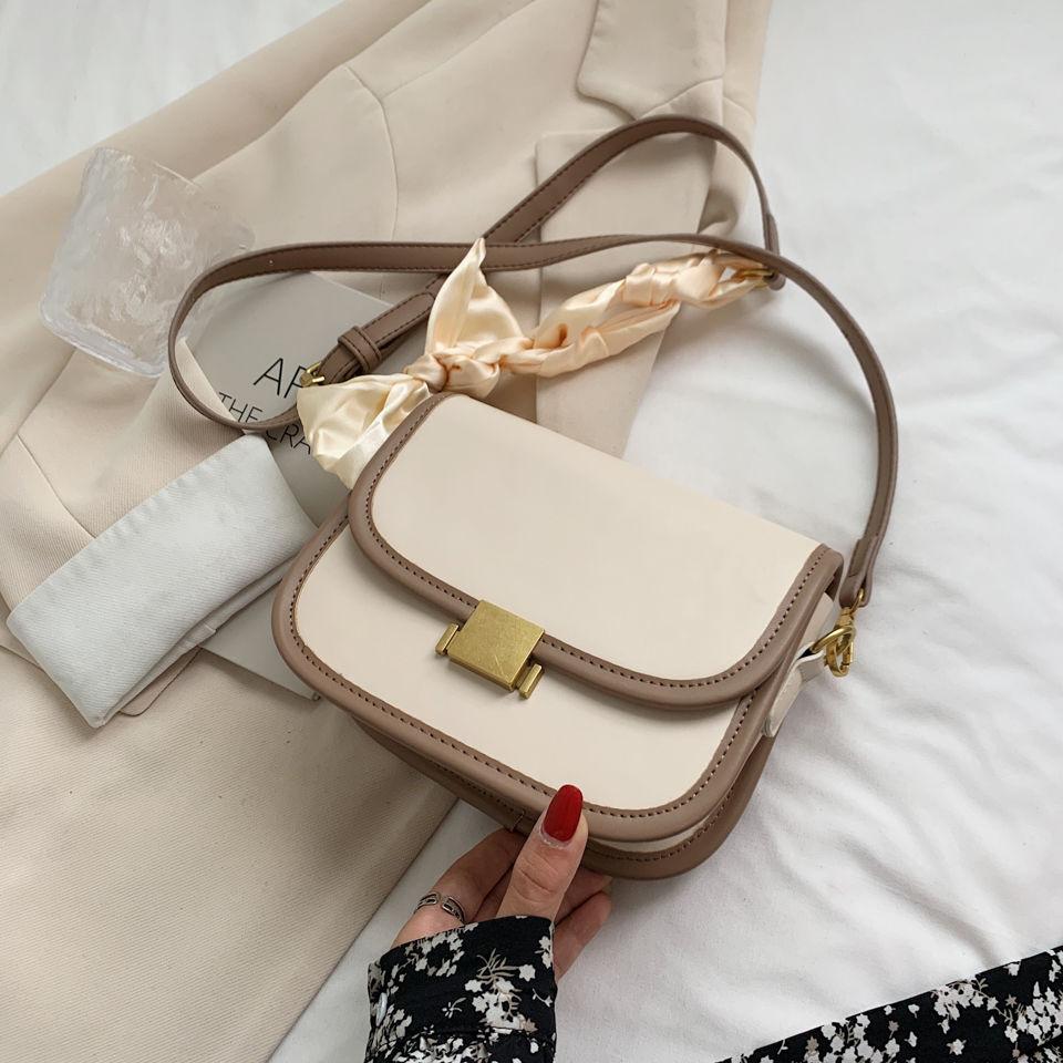 2021 Korean Cute Design Girls Cross Bag Contrast Colors Leather Women's Saddle Bag With Scarf Simple Designer Handbag Uncle Nine