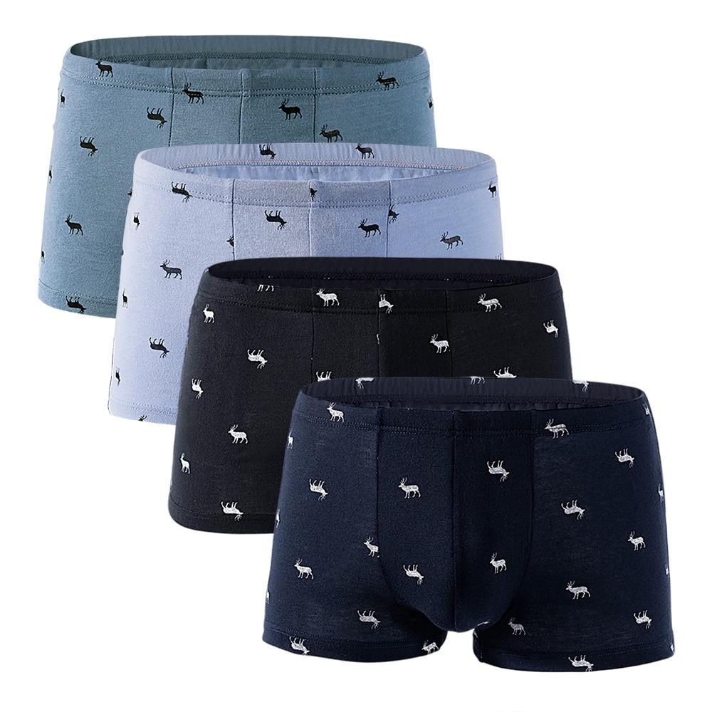 Mens Boxers Underwear Brand Printed Panties Cotton Comfortable Man Short Homme Men Underpants Boxer Pack 4PCS