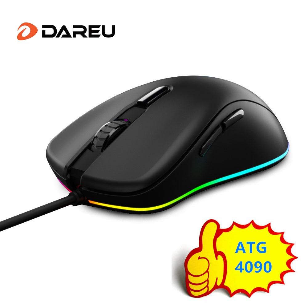 Проводная игровая мышь DAREU EM908 RGB, 6 программируемых кнопок ATG4090, сенсор 6000 dpi 150 ips 50 миллионов кликов, мыши для геймера