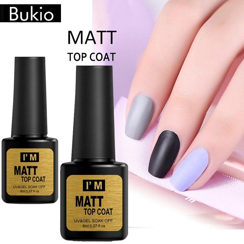 Bukio  8ml Matt Top Matt Nail Polish Lacquer Matte Gel Polish Top Gel Nail Mat Vernis Matte Top Coat UV Gel Nail Primer Top Gel
