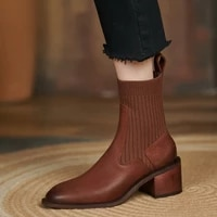 retro slip on cow leather winter fall woman shoes acrylic knitted stretch booties chunky heels chelsea ankle boots for women