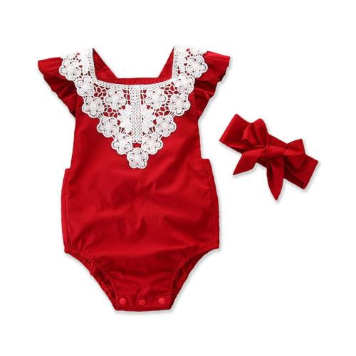 Citgeett verão natal bebê recém-nascido meninas de algodão rendas vermelho macacão outfits sunsuit roupas