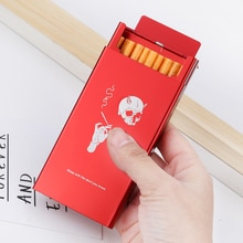 Slim Lady's Cigarette Box Case For Women Creative Designs Skull Smoking Quotes Aluminum Alloy Metal Red Black Slide Personality