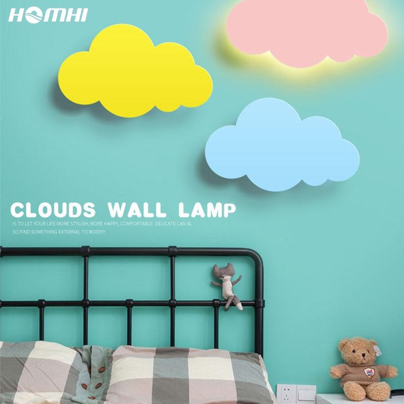 Homhi سحابة الطفل سرير علوي رئيس الجدار تركيب المصابيح ديكو غرفة الأطفال الحضانة تصميم مصابيح إضاءة غرفة نوم الشمعدان HWL-016