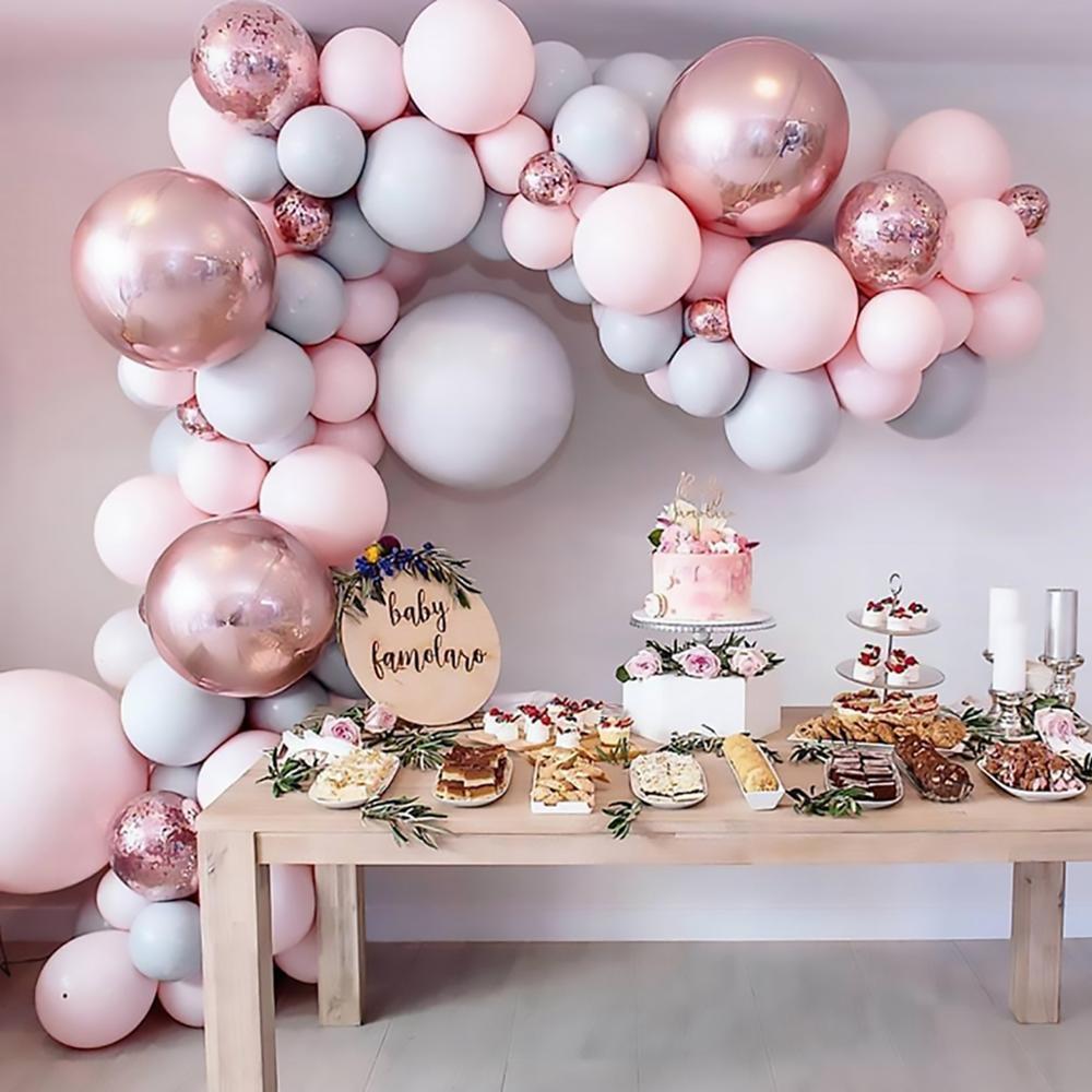169 pçs macaron balões garland arco rosa ouro confetes ballon casamento aniversário baloon decoração da festa de aniversário crianças chuveiro do bebê