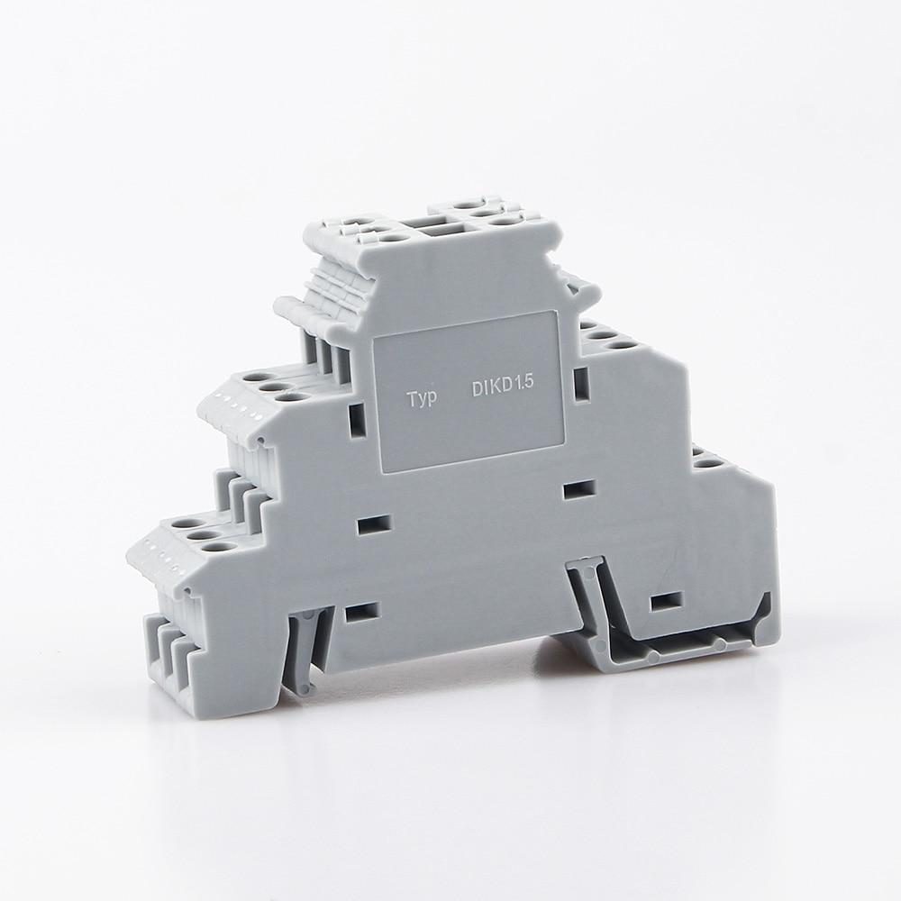 Din Rail Terminal Block 10Pcs DIKD-1.5 Three Layer 3 Level Sensor Actuator Triple Wire Connector DIKD1.5 Wire Conductor