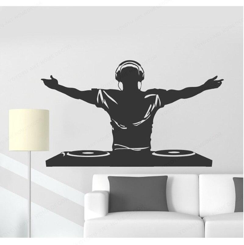 YOYOYU vinilo pared calcomanía DJ música Disco auriculares discotecas vinilo pared arte pegatinas sala de estar arte extraíble pared MuralHL158