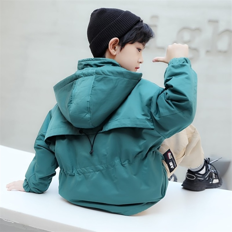 Boys' pullover cotton-padded coat autumn new children's clothing half zipper Korean style medium and older children's jacket enlarge