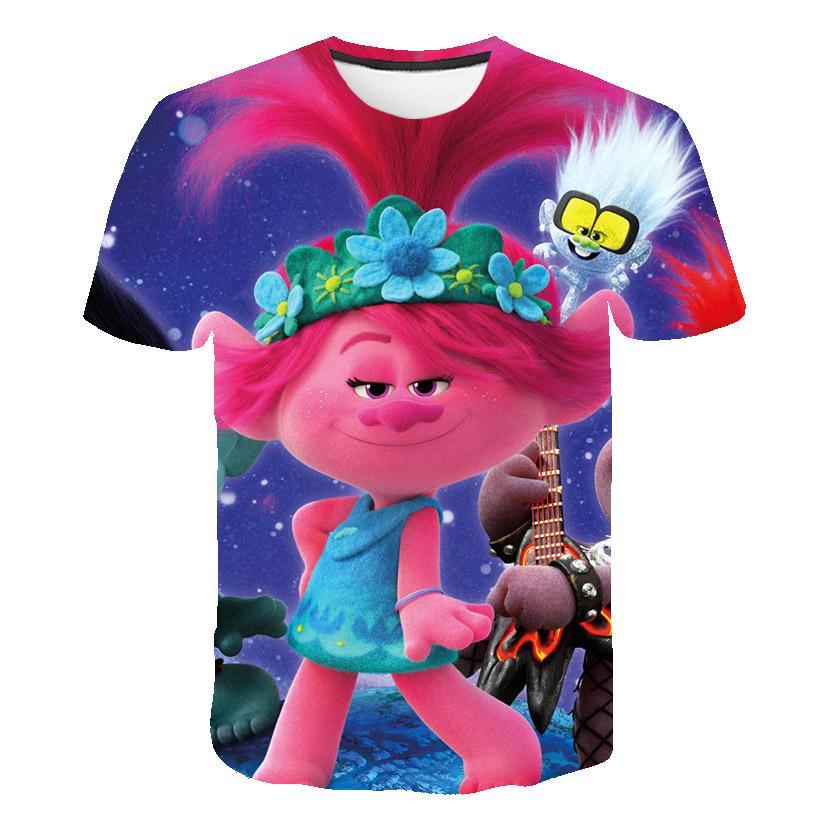 ¡Novedad! Camiseta para niños Troll 2, camiseta de película Troll World Tour, camiseta 3d divertida, ropa de niño Hada peluda Gi