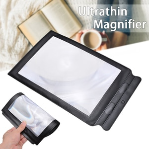 Ultra Thin A4 PU Leather Frame Reading Aid Lens Full Page Business Card Magnifier Sheet Tool 3X Magnifier For The Older Reading