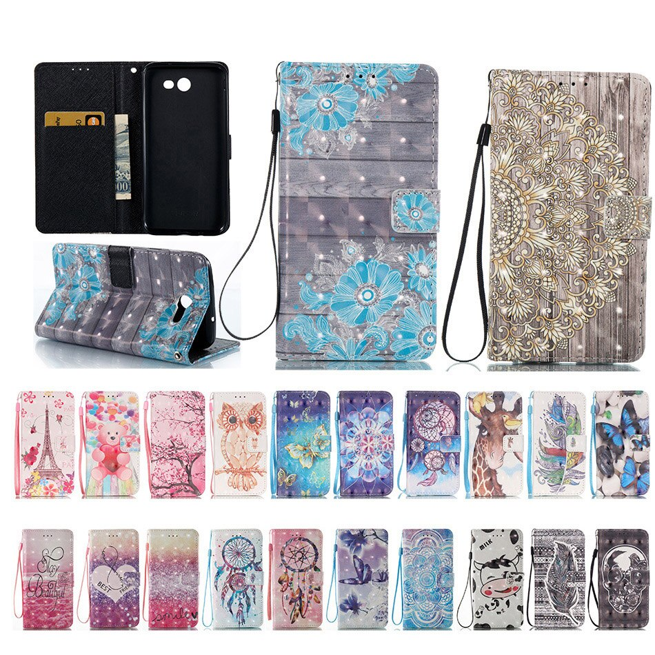 Fundas de teléfono para Samsung Galaxy J3, J5, J7, A3, A5, 2016, 2017, sm-a310, A510, J320, J510, S7 Edge, bolsa de cuero PU