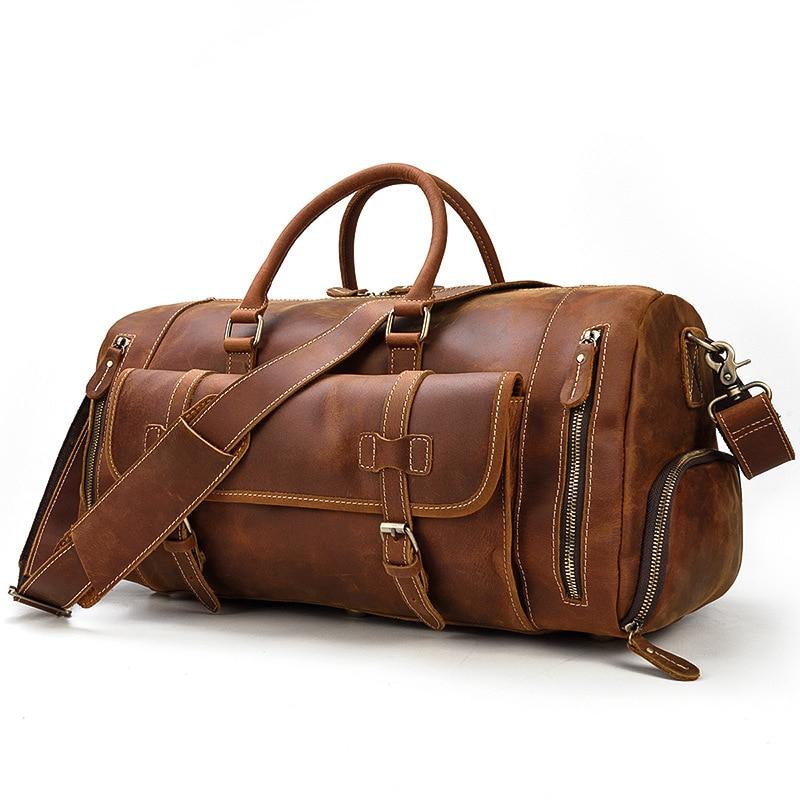 Luxury leather travel bag 50cm men's leather handbag shoulder diagonal bag with shoe position luggage bag