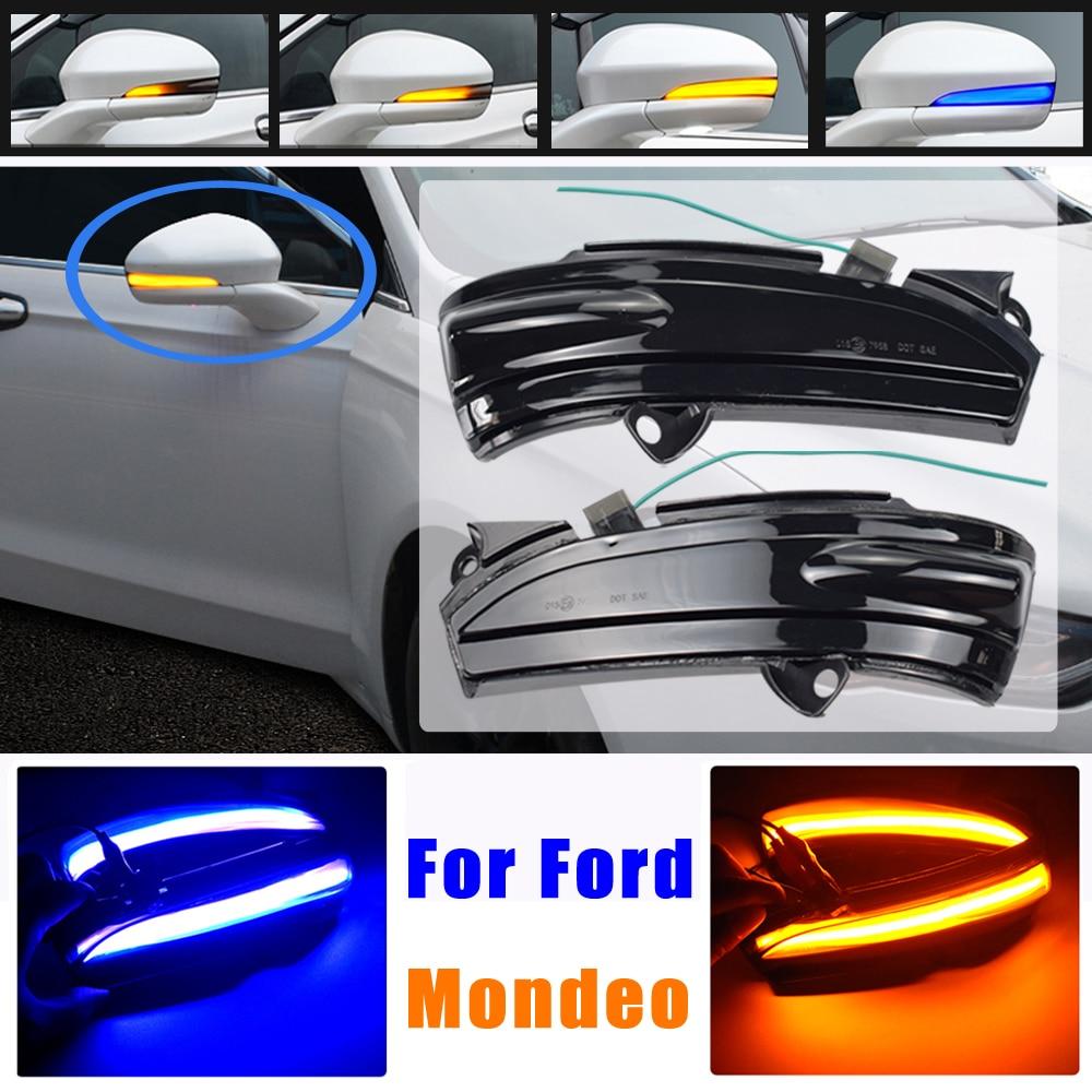 Azul led dinâmico turn signal blinker para ford fusion mondeo 2014 2015 2016 2017 2018 2019 sequencial lado espelho indicador de luz