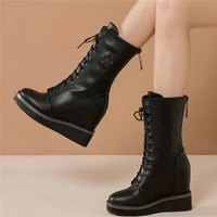fashion sneakers women genuine leather wedges high heel pumps shoes female high top round toe platform ankle boots casual shoes
