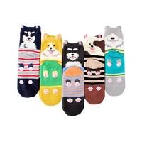 Носки женские хлопковые, 5 пар, разноцветные, Осень-зима, милые, в Корейском стиле, носки с узором с собакой, модные, с рисунком животных