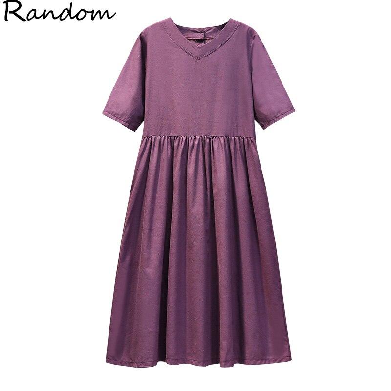 Vestido de línea bordada de L-4XL grande de talla grande para mujer, vestido informal elegante de verano a la moda, vestido holgado de Playa Grande púrpura Oversizd