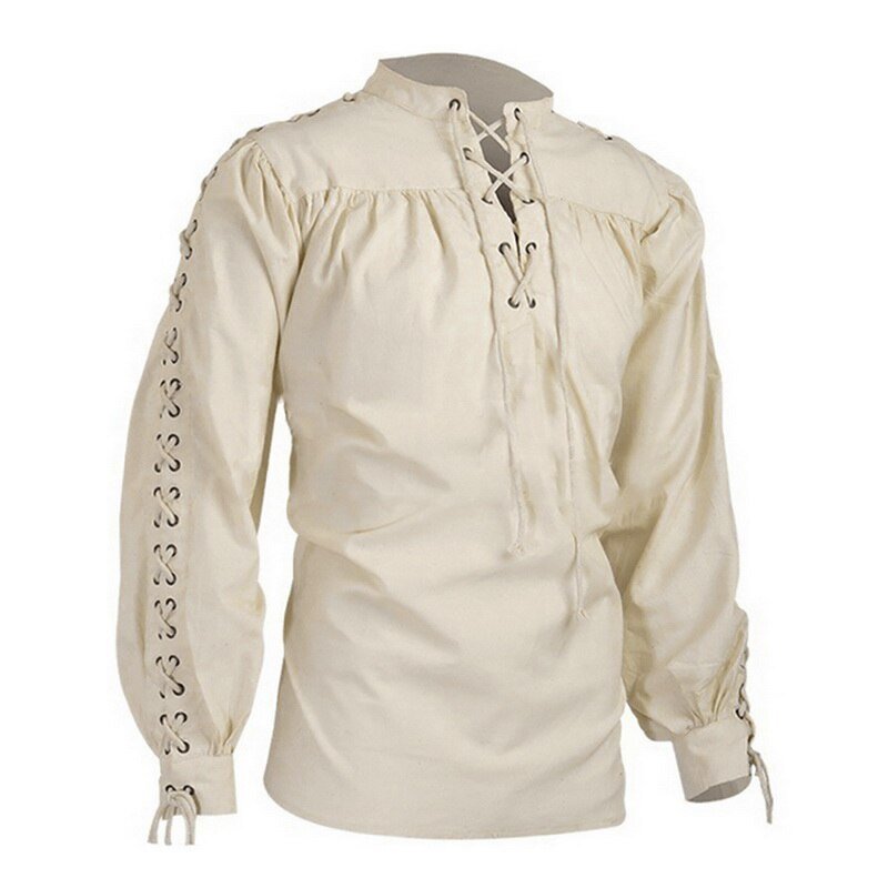 MJARTORIA para hombre blusa Medieval pirata camisa vikingo renacentista encaje para arriba de noche de brujas camisero escocés Ghillie