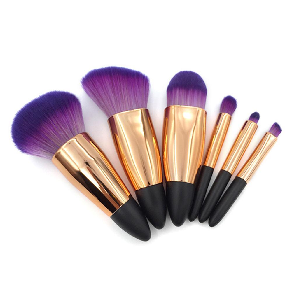 6 uds. Brochas de maquillaje juego de brochas de maquillaje profesional para viajes brochas Kabuki de moda de Color negro y dorado