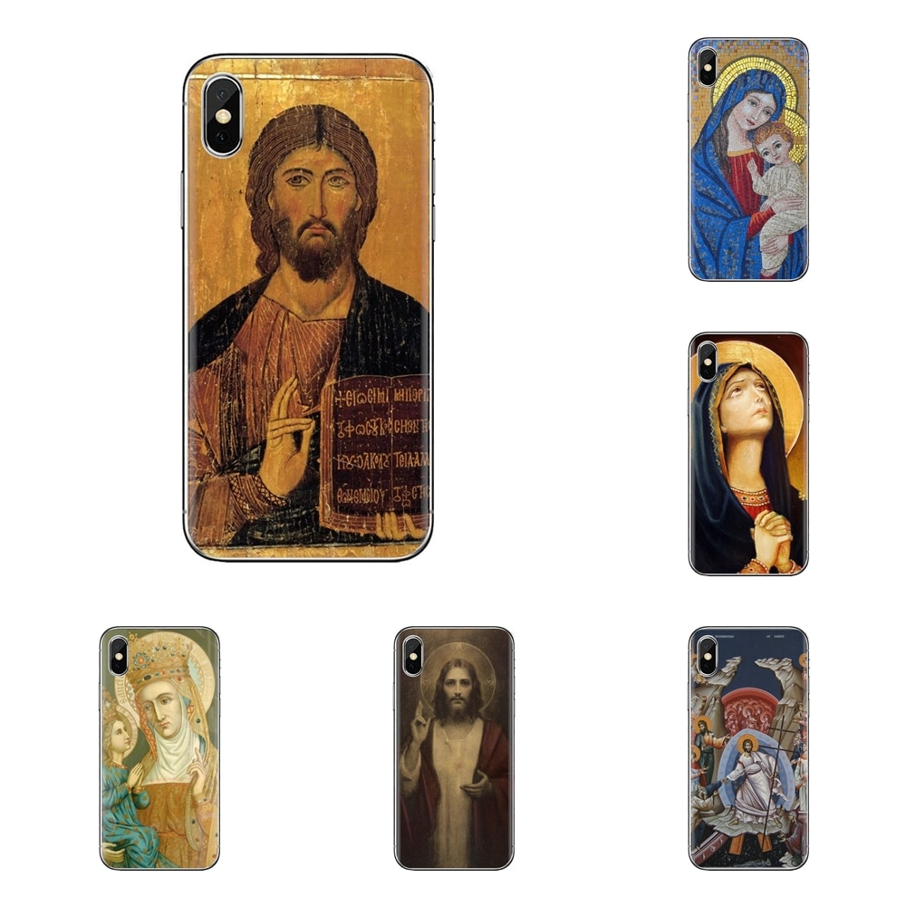 Fundas transparentes suaves para iPod Touch Apple iPhone 4 4S 5 5S SE 5C 6 6S 7 8 X XR XS Plus MAX papel tapiz religioso e íconos