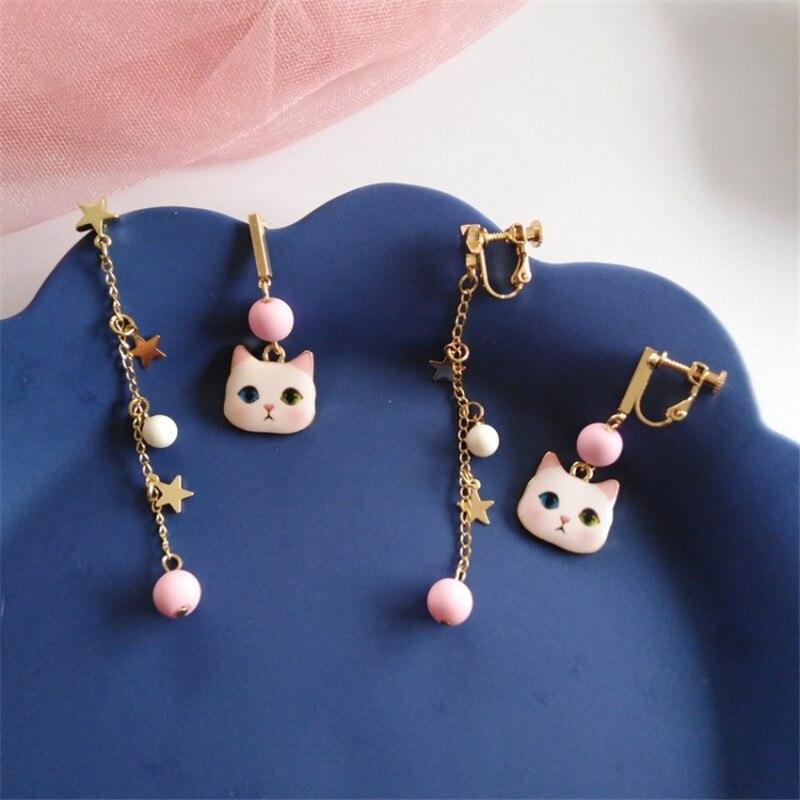Fashion white Cat Long star tassel Pendant Romantic Charm Beautiful Asymmetrical Earrings For Women Jewelry