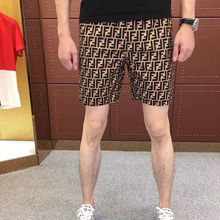 Five check men's shorts Korean slim quick dry stretch beach pants