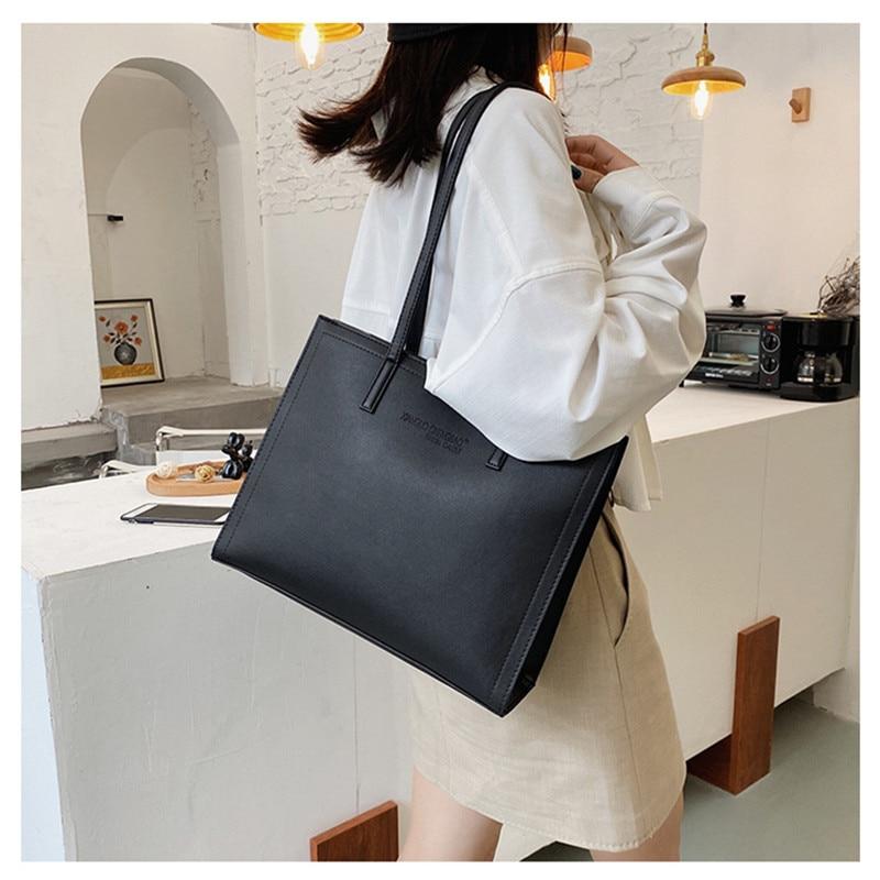 Black Large Leather Tote Bag Women 2020 New Fashion Winter High Quality  Contrast Color  Shoulder Bag Classic Female Handbag Sac