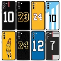 smartphone case for samsung galaxy s20 fe s21 ultra s9 s10 plus lite s10e back cover funda bag basketball star football number