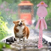 cute squid pet cat dog toy octopus cute bb plush pet puppy rope toys pink chew squeak toys for dog cat
