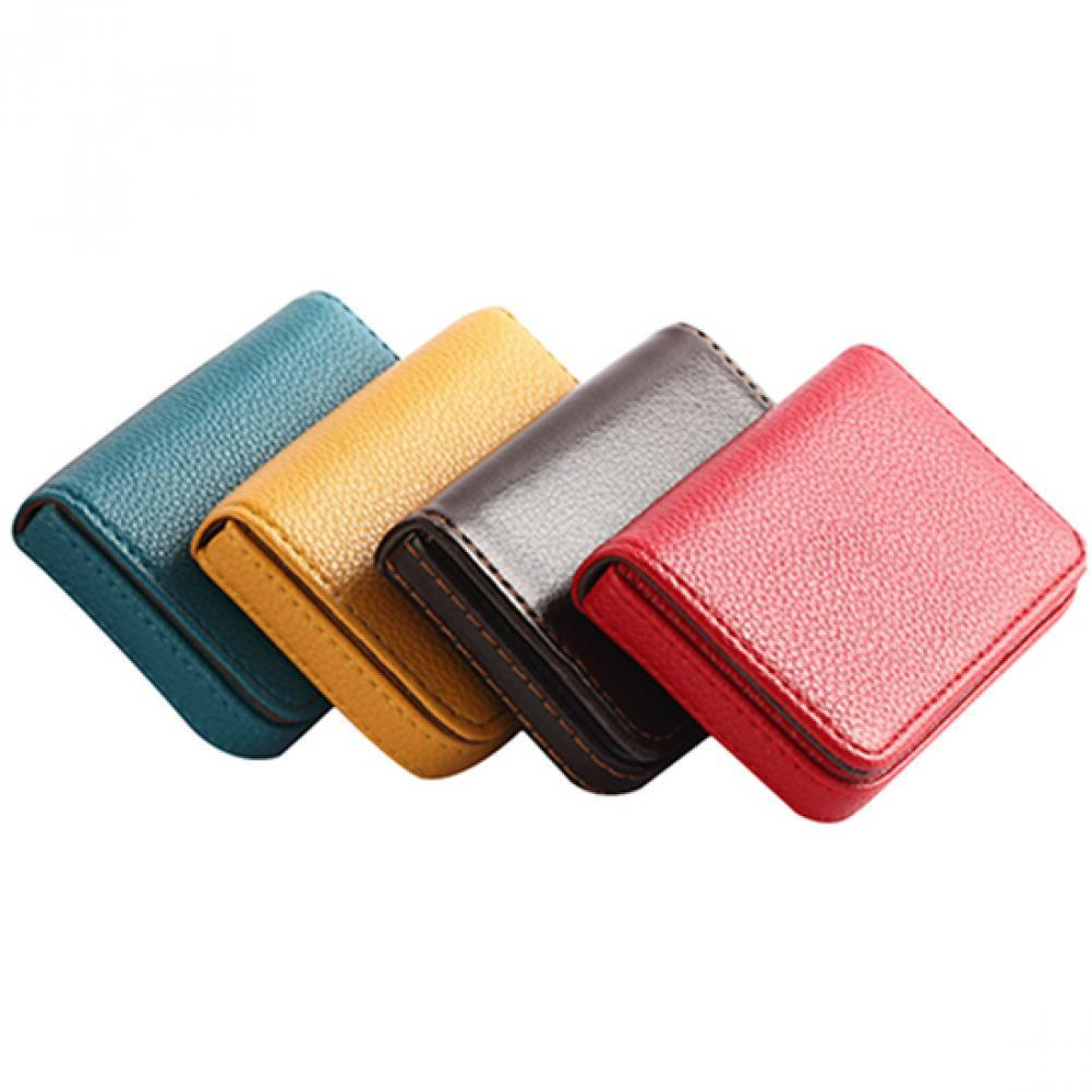 deli business name card box big capacity credit card holder memo pad Faux Leather Magnetic Closure Business ID Name Pack Credit Card Holder Pocket Box