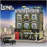 5801pcs moc 30010 lion pub bar street house model modular building blocks assemble bricks toys kids gifts